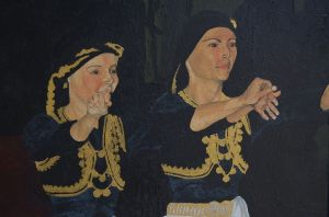 Vovousa: acrylic on canvas. *Note: Vovousa is name of the costumes worn in the image and is also a region of Greece situated in Eastern Epirus.
