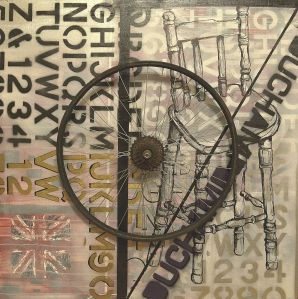Homage to Duchamp: Spray paint, Artline permanent marker acrylic paint and bicycle wheel