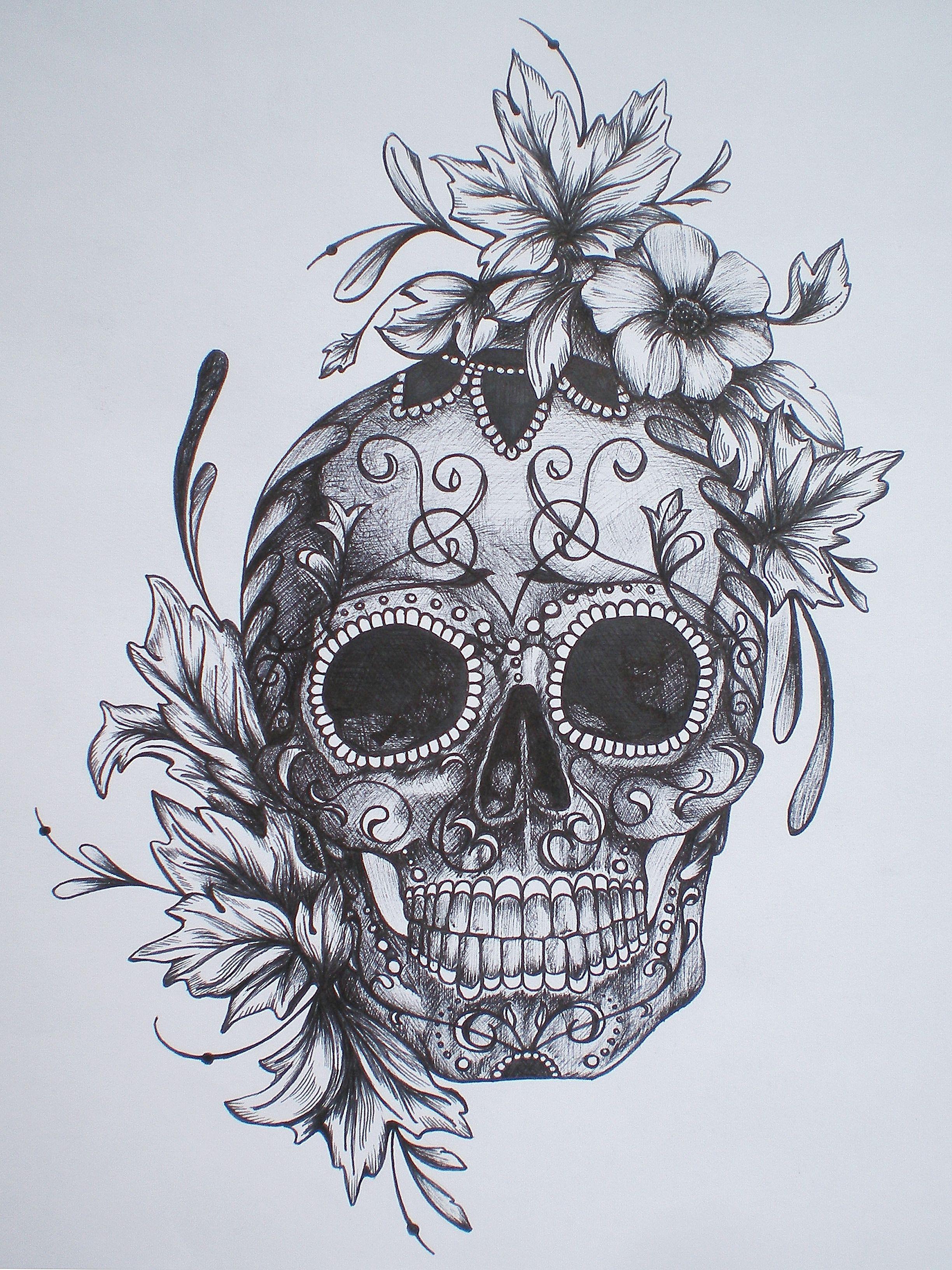 Sugar Skull Hand Tattoo